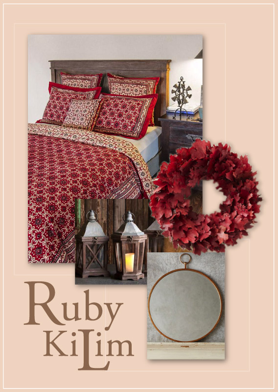 kilim red rustic bedroom, fall decorating