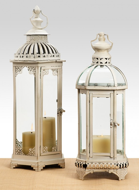 antiqued white lanterns jamali