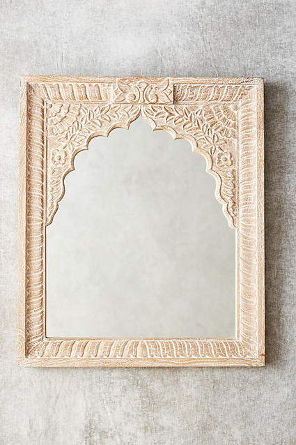 carved archway mirror anthro