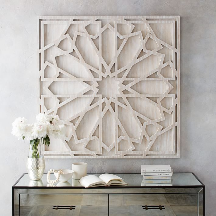 Graphic Wood Wall Art - Whitewashed (Square)