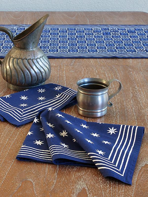 Starry Nights ~ Blue Batik Cloth Dinner Table Napkins