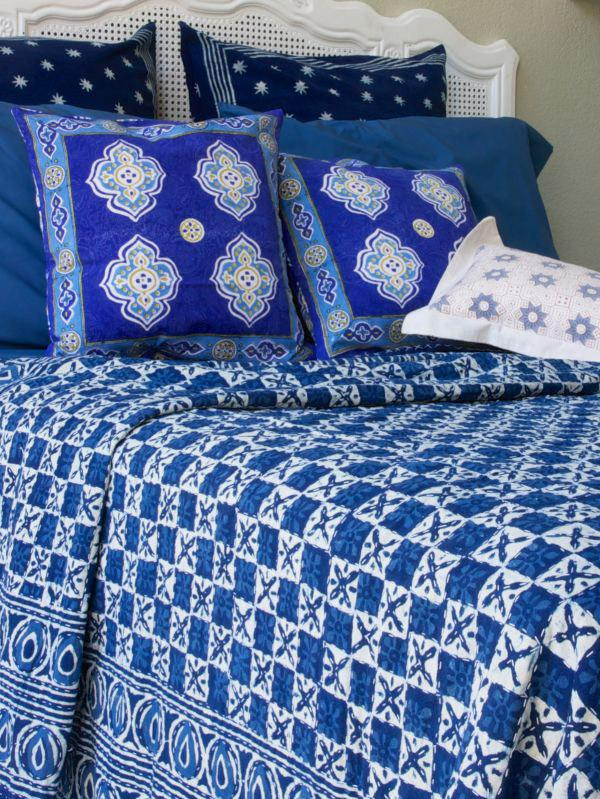 Designer Blue India Batik Quilted Bedspread