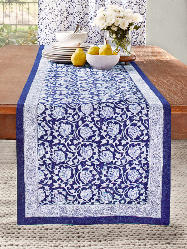 coastal Christmas table runner blue and floral pattern