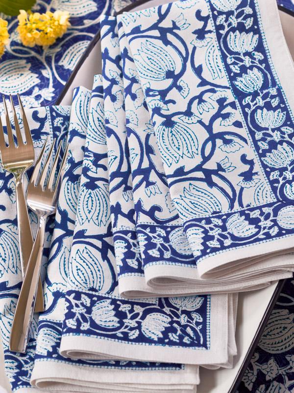 coastal Christmas with blue floral cloth napkins