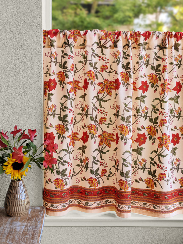 red floral cafe curtain