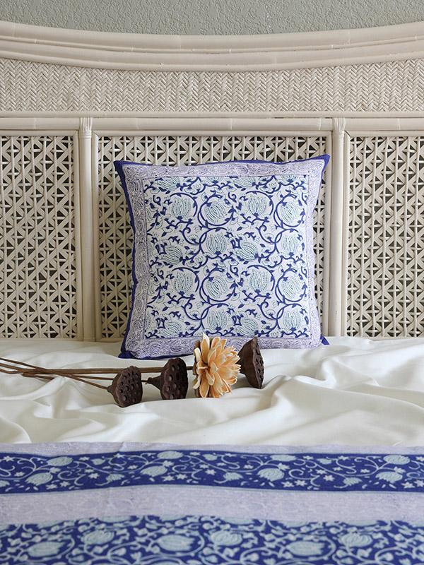 Asian Blue Floral Throw Pillow Cushion Cover