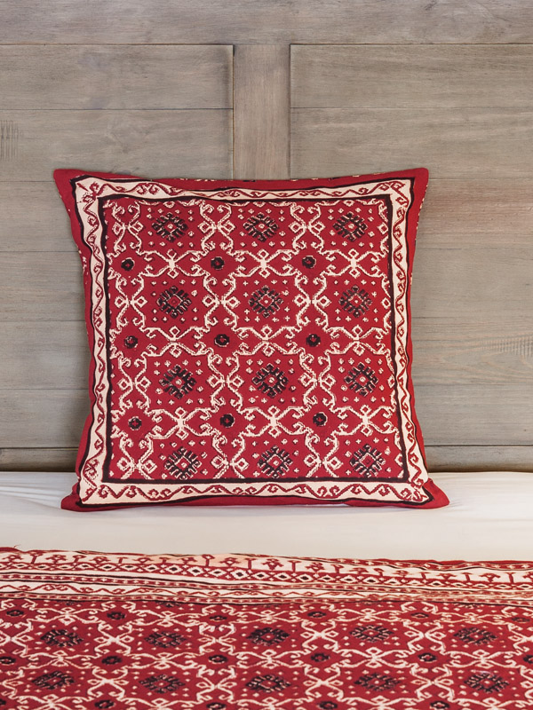 Rustic Red Black Throw Pillow Cushion Cover