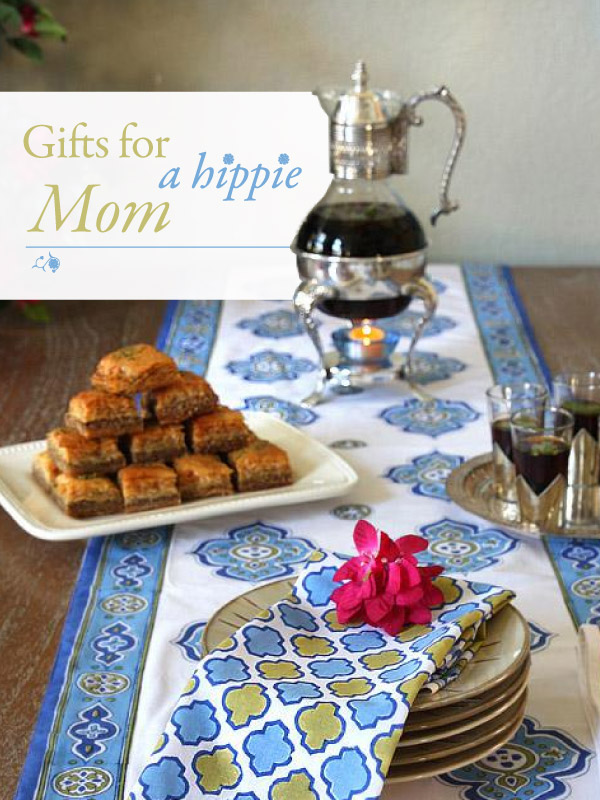 gifts for a hippie mom, moroccan decor and coffee, baklava, a red flower