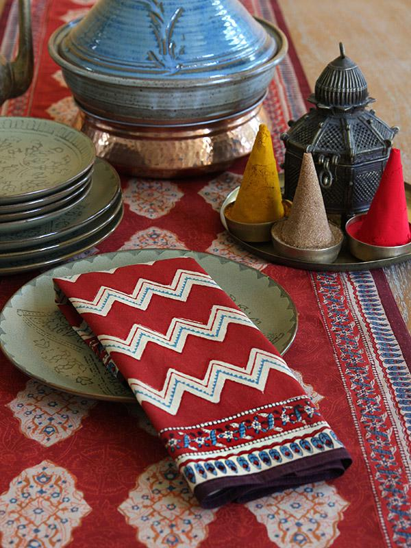 Red cloth napkins and Moroccan home decor