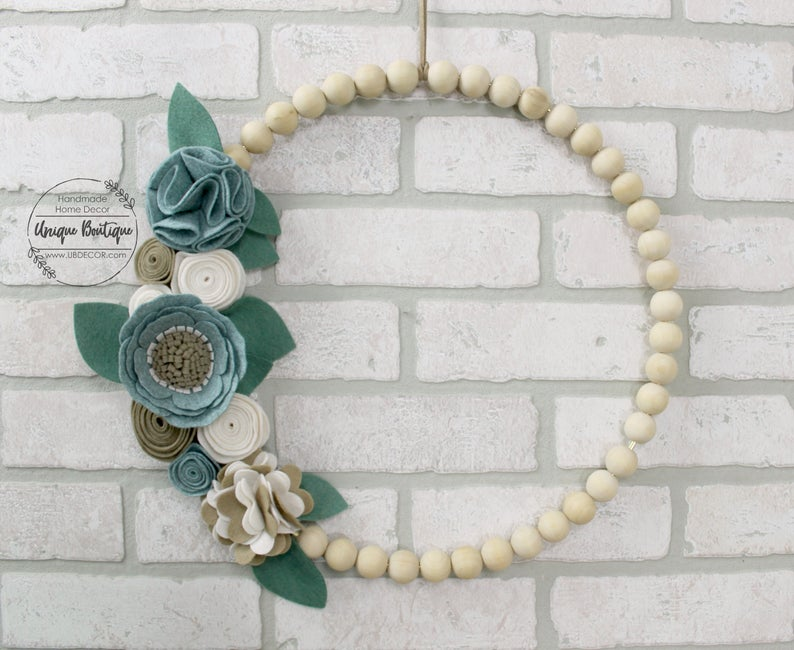 beaded wreath with felt flowers, hippie gifts for mother's day