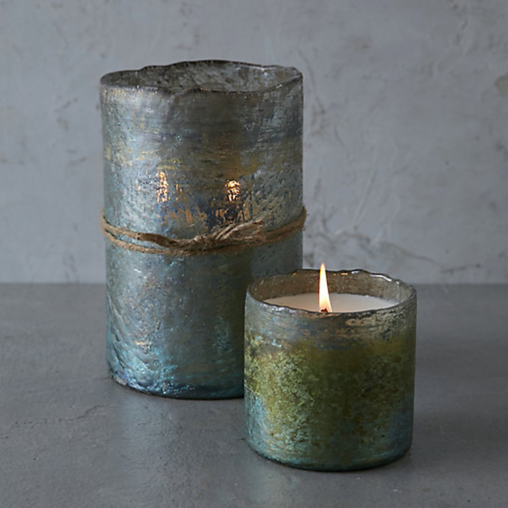green textured glass candle as zen room decor