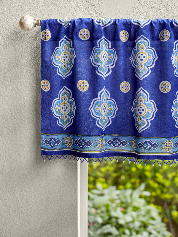 blue valance with a Moroccan pattern