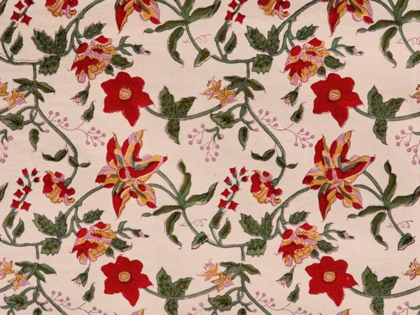 A fabric swatch with red and yellow tropical flowers