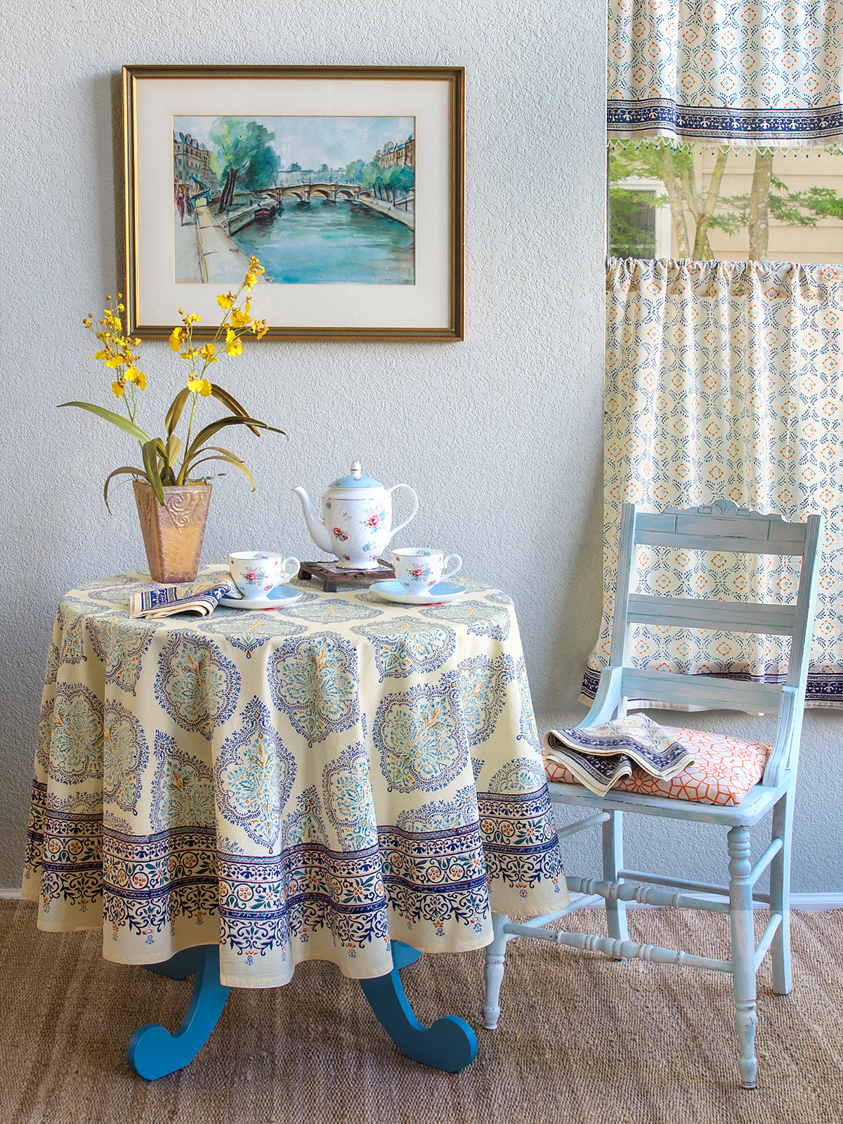 French Moroccan curtains and table linens for summery bohemian home decor