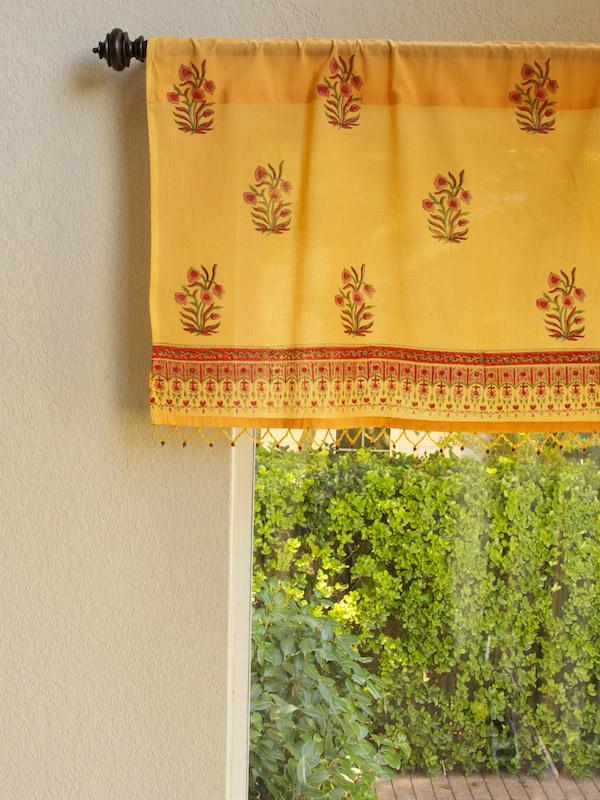 Orange Paisley Beaded Window Valance