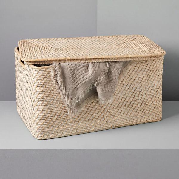 Modern Weave Lidded Storage Basket - Whitewashed