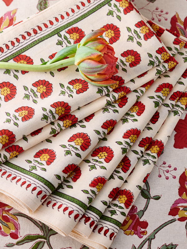 Red Floral Country Dinner Napkins