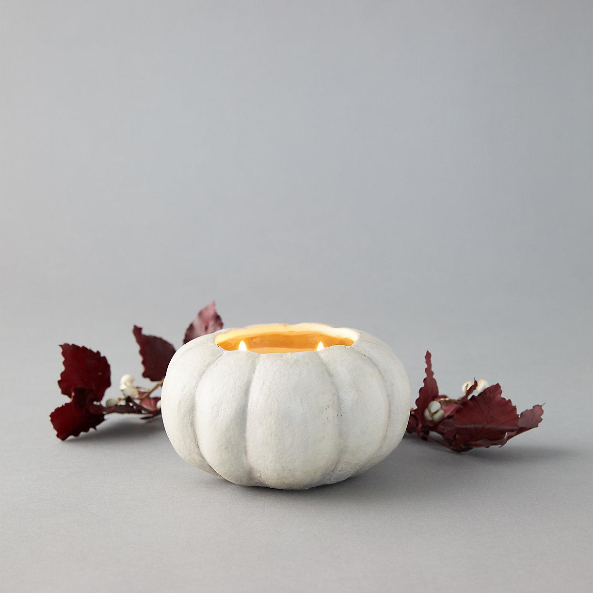 fall table decor pumpkin candles