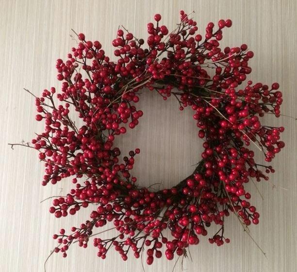 rustic bedroom ~ fall bedroom~ red berry wreath