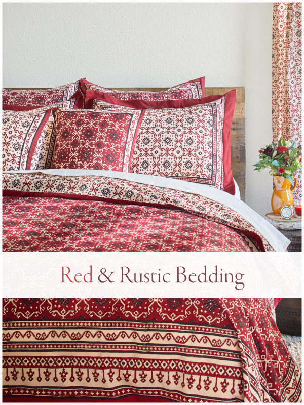 red rustic bedding and black and red duvet cover