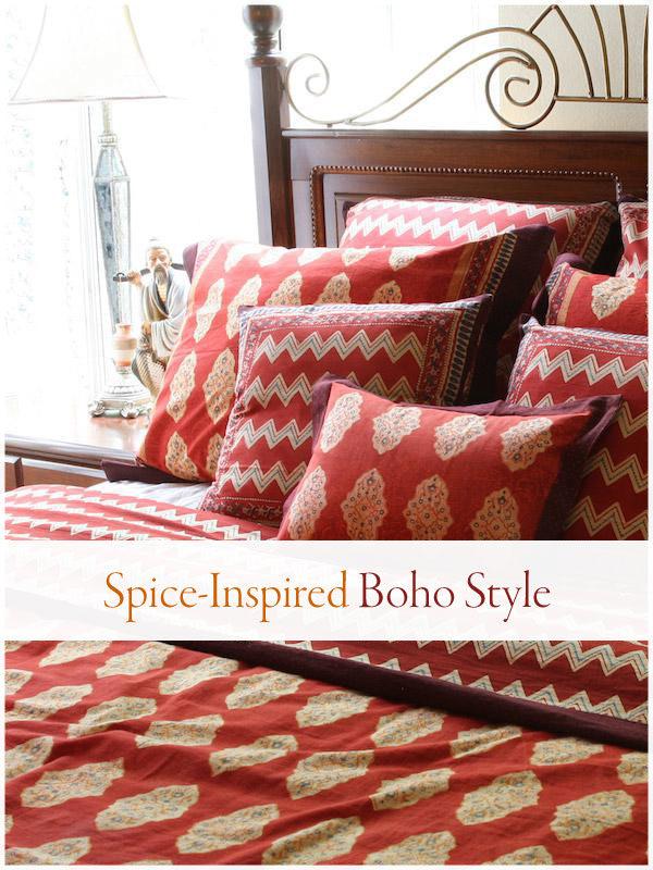 red bedding and boho duvet cover