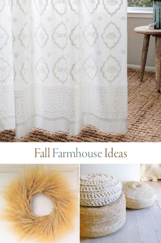 white farmhouse curtains and fall decor ideas collage