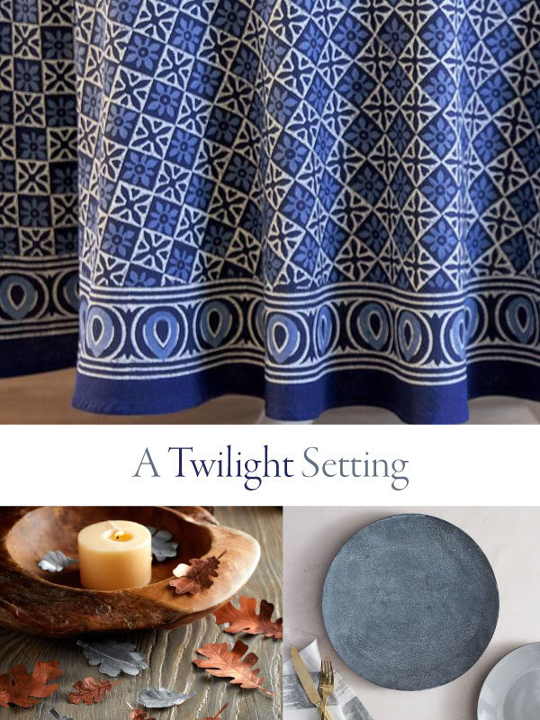 a twilight setting (sign) over a blue tablecloth