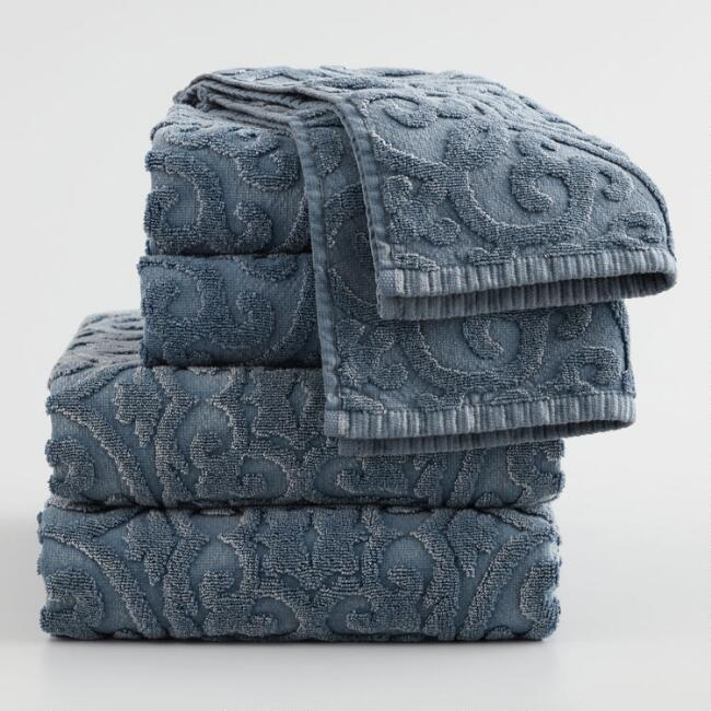 Indigo Blue Medallion Safira Sculpted Towel Collection