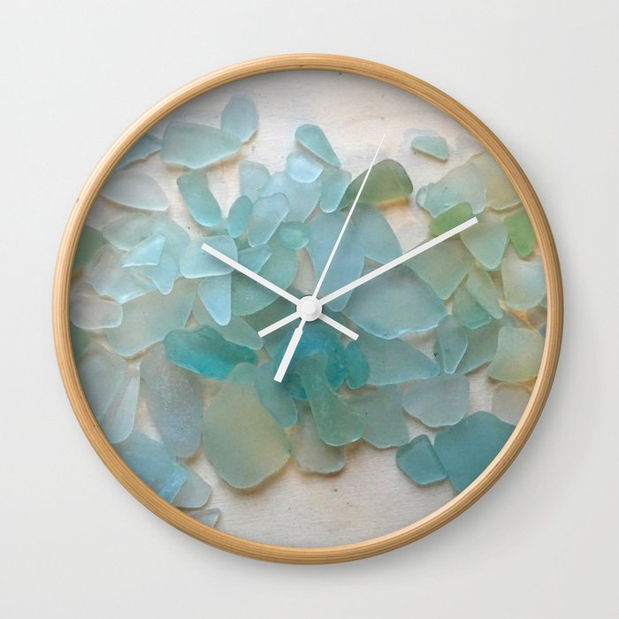 A seaglass clock without numerals is lovely in a zen space or in coastal interiors.