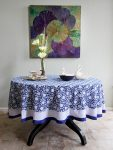 Midnight Lotus Round Tablecloth