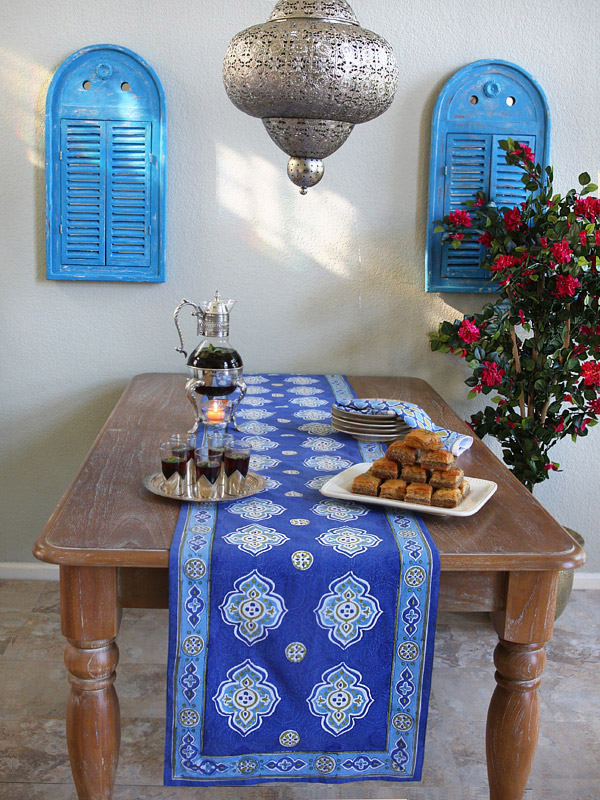 blue table runner with a Moroccan pattern