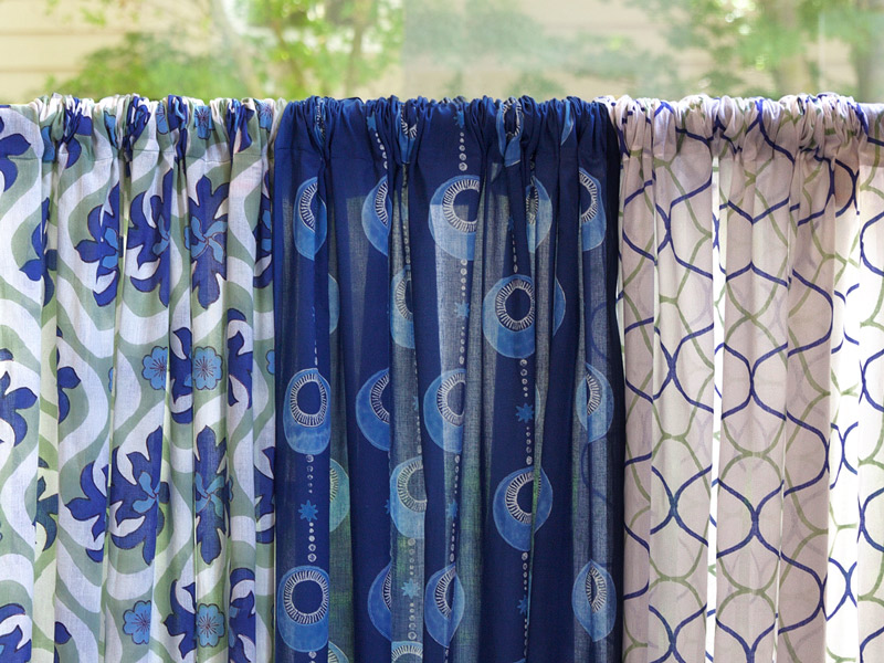 boho beachside white blue curtain panel