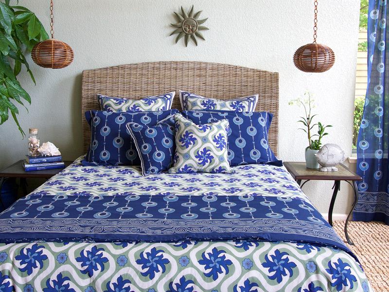 boho beachside white blue duvet cover