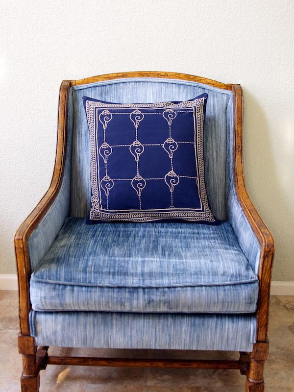 Pacific Blue (CP) ~ Rustic Navy Blue Ocean Oriental Throw Pillow