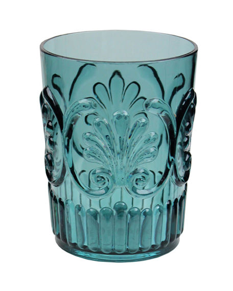 Teal glass with fleur de lis in French country style