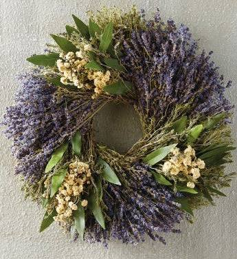 French country style wreath with lavender, blue and yellow botanicals