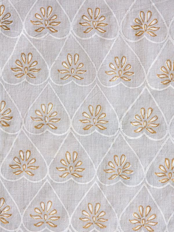 gold and white sheer curtain with pattern, hearts and flowers