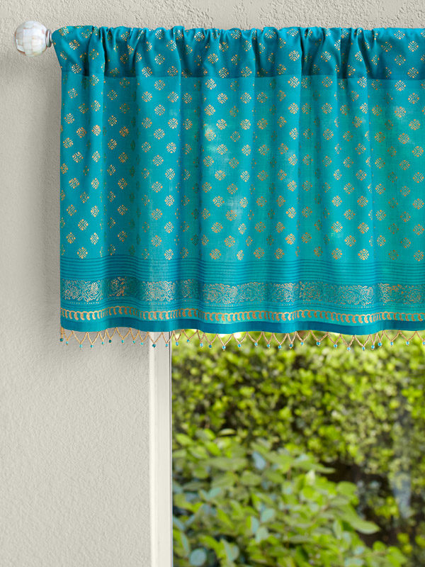 teal bathroom curtains with indian print