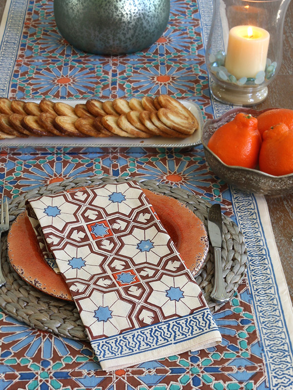 Moroccan style tablecloth and Moroccan style napkins