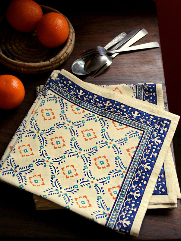 Morning Dew ~ French Country Provence Yellow Blue Dinner Napkins