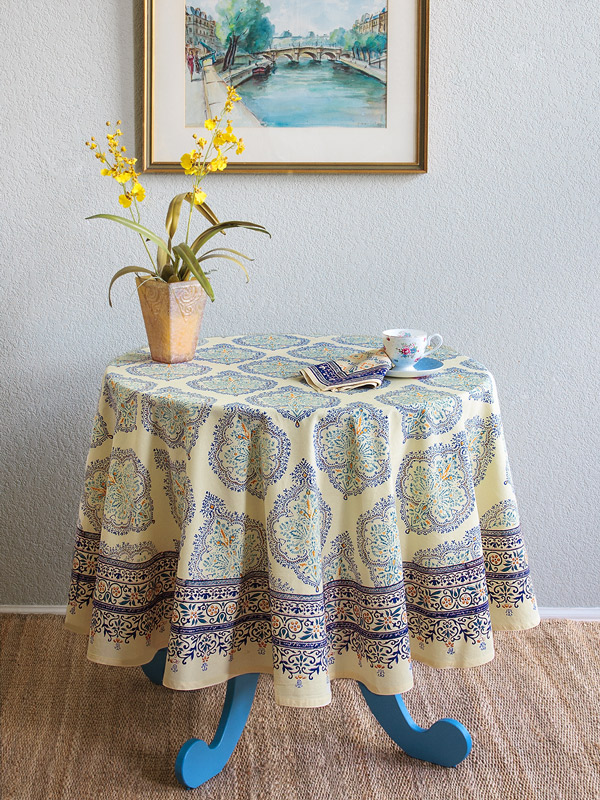 yellow french moroccan bohemian round tablecloth
