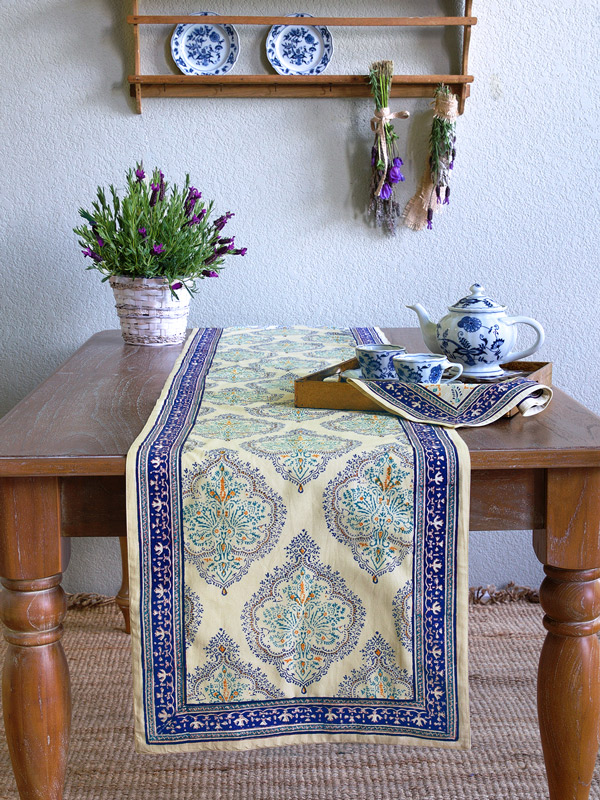 Blue and yellow French country style table runner ~ yellow table runner