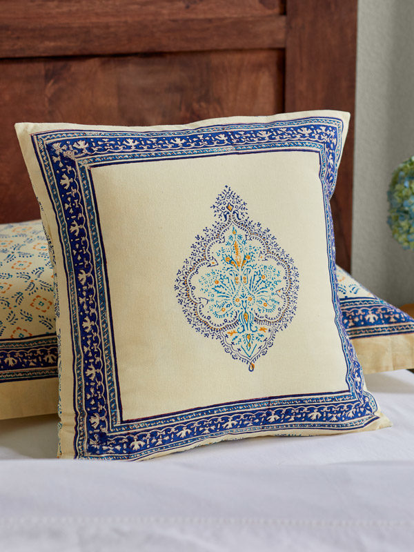 blue and yellow French country style pillow