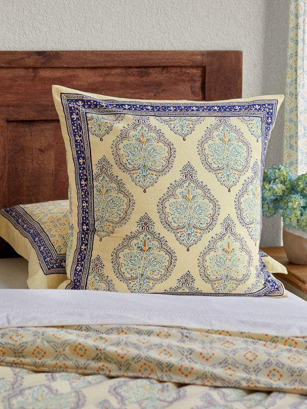 blue and yellow French country style boho pillow