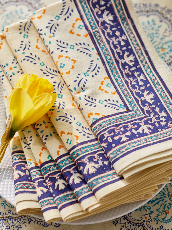 Block printed fabric blue and yellow cloth napkins in French country style
