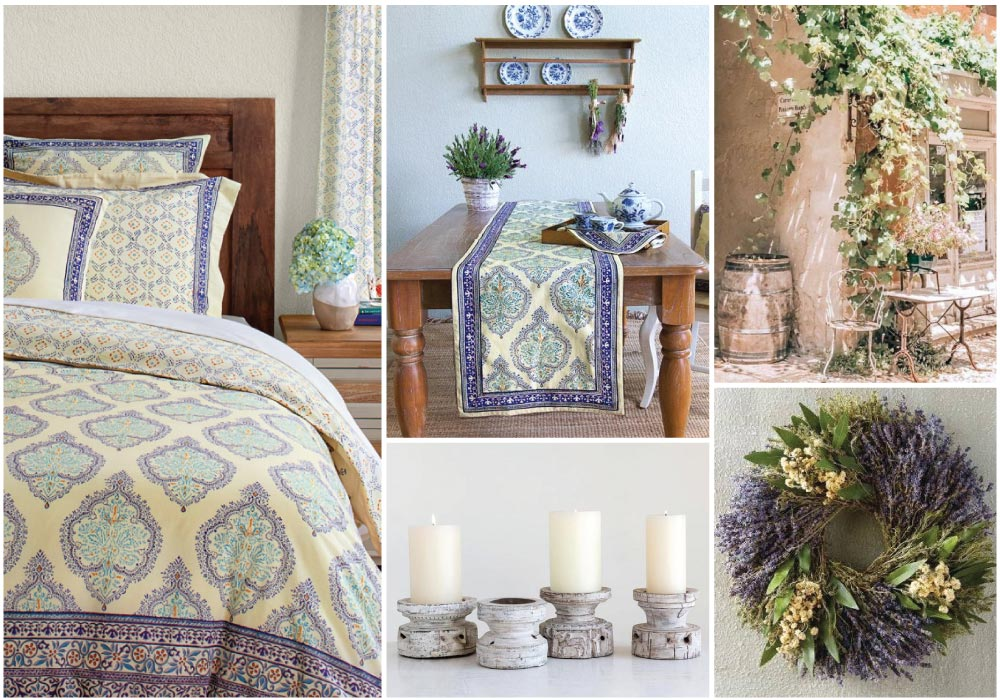 collage of blue and yellow French country decor, bedding, table runner, print, candes, and herb wreath