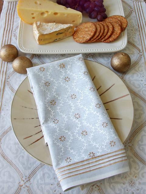 white and gold home decor cloth napkins block print