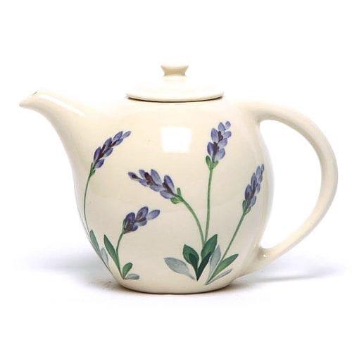 Emerson Creek pottery tea pot hand painted with lavender, violets, lilac color florals