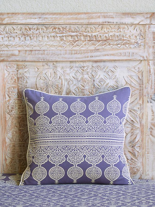 purple pillow cover in a lilac color and white boho block print