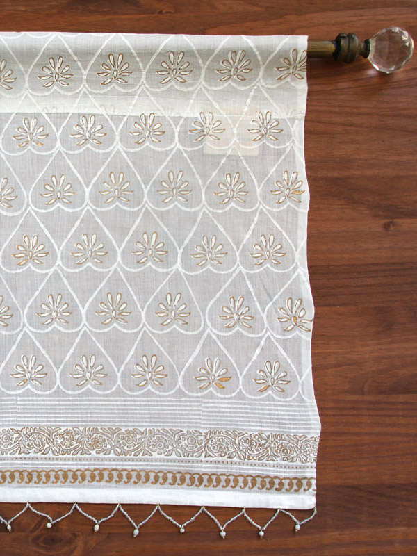 White sheer floral valance with gold